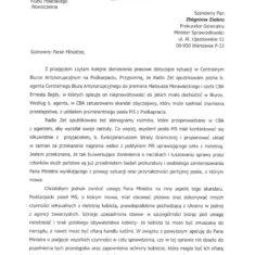 Pismo w sprawie doniesień o sytuacji na Podkarpaciu