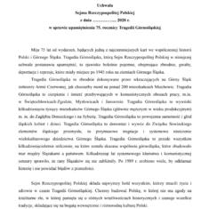 Uchwała w sprawie upamiętnienia 75. rocznicy Tragedii Górnośląskiej