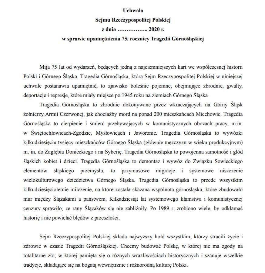 Uchwała w sprawie upamiętnienia 75. rocznicy Tragedii Górnośląskiej | Monika Rosa
