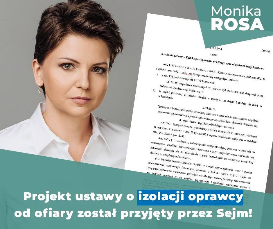 Projekt ustawy o izolacji oprawcy od ofiary został przyjęty przez Sejm! | Monika Rosa