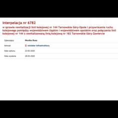 Interpelacja w sprawie rewitalizacji linii kolejowej nr 144 Tarnowskie Góry-Opole