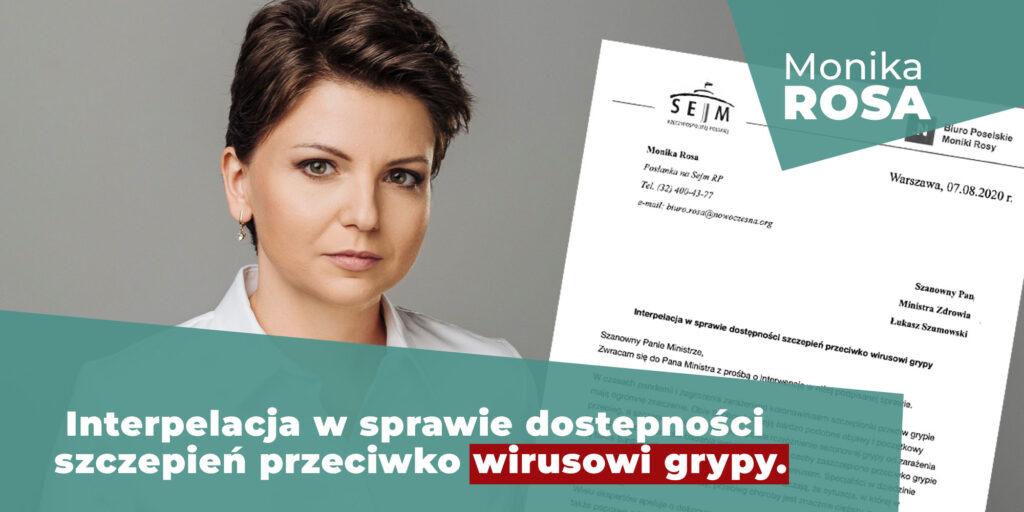 Interpelacja do Ministra Zdrowia z prośbą o interwencję w sprawie dostępności szczepień przeciwko wirusowi grypy | Monika Rosa